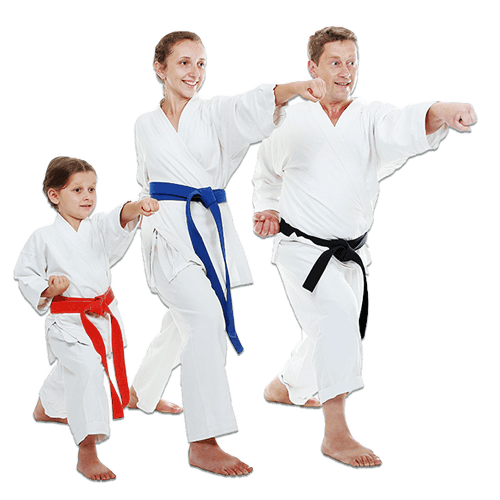 Martial Arts Lessons for Families in _Naugatuck_ CT - Man and Daughters Family Punching Together