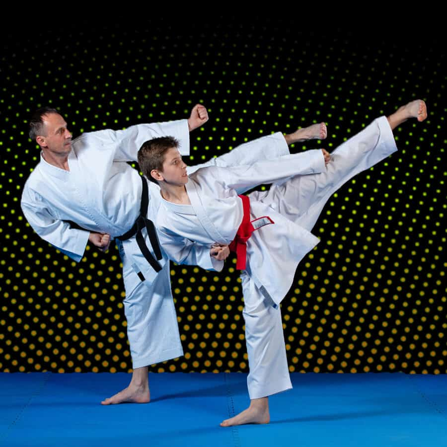 Martial Arts Lessons for Families in _Naugatuck_ CT - Dad and Son High Kick
