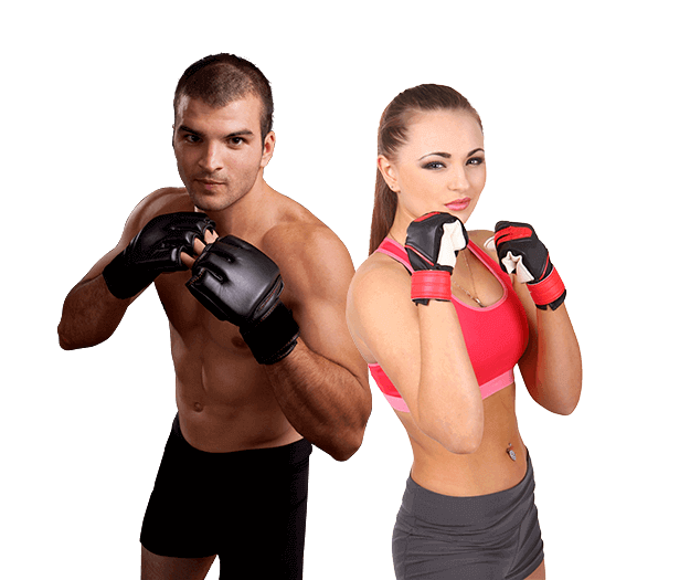 Mixed Martial Arts Lessons for Adults in _Naugatuck_ CT - Hands up Fitness MMA Man and Woman Footer Banner