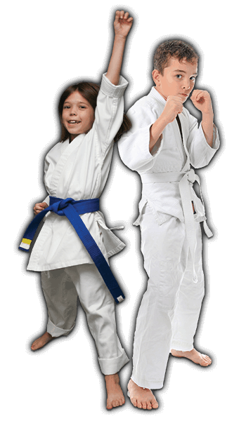 Martial Arts Lessons for Kids in _Naugatuck_ CT - Happy Blue Belt Girl and Focused Boy Banner