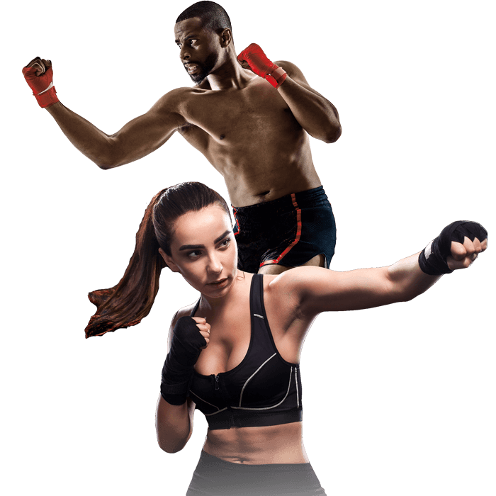 Mixed Martial Arts Lessons for Adults in _Naugatuck_ CT - Man and Woman Punching Hooks